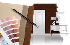 Diseño interior y decoración stock de ilustración
