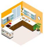 Diseño isométrico de la cocina Icono polivinílico bajo isométrico del sitio de la cocina del vector Foto de archivo libre de regalías