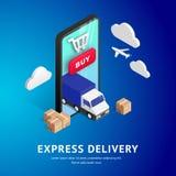 Diseño isométrico del envío express stock de ilustración