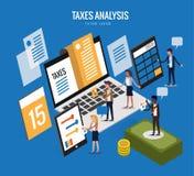 Diseño isométrico plano de concepto de los impuestos Imágenes de archivo libres de regalías