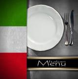 Diseño italiano del menú del restaurante Fotos de archivo libres de regalías