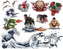 Diseño japonés del tatuaje Fotografía de archivo libre de regalías
