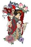 Diseño japonés tradicional del tatuaje para el cuerpo trasero Mujeres japonesas en kimono con su gato y dragón Muchacha de geisha Fotografía de archivo libre de regalías