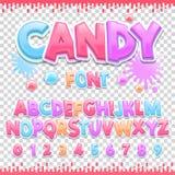 Diseño latino de la fuente del caramelo Letras y números dulces de ABC Alfabeto lindo de los niños Foto de archivo