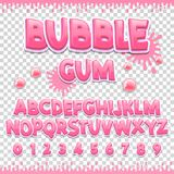 Diseño latino de la fuente del chicle Letras y números dulces de ABC Alfabeto lindo de los niños Fotos de archivo