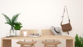 Diseño limpio de la cafetería o del espacio de trabajo - representación 3D Fotografía de archivo libre de regalías