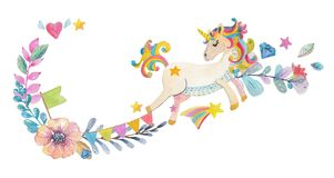 Diseño lindo de la acuarela con unicornio mágico y las flores ilustración del vector