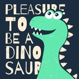 Diseño lindo de la camiseta para los niños Dinosaurio divertido en estilo de la historieta Gráfico de la camiseta con lema stock de ilustración