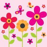 Diseño lindo de la flor y de la mariposa Fotografía de archivo libre de regalías
