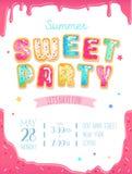 Diseño lindo de la invitación del partido Cartel dulce del partido del buñuelo para el nacimiento ilustración del vector