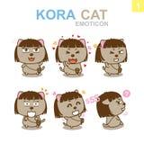 Diseño lindo del Emoticon - Cat Set Foto de archivo