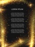 Diseño mágico de oro del cartel de la chispa del vector que brilla stock de ilustración