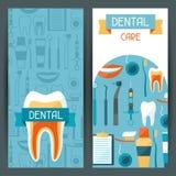 Diseño médico de las banderas con los iconos dentales Fotografía de archivo libre de regalías