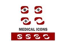 Diseño médico de los ejemplos y de los iconos de los logotipos Imagen de archivo