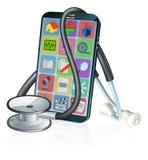Diseño médico del estetoscopio del App de la salud del teléfono móvil stock de ilustración