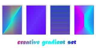 Diseño mínimo de las cubiertas del vector Pendientes de semitono frescas Plantilla futura del cartel Rayas de la pendiente ilusió fotografía de archivo
