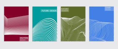Diseño mínimo de las cubiertas Pendientes de semitono frescas Plantilla futura del cartel Fotografía de archivo