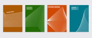 Diseño mínimo de las cubiertas Pendientes de semitono frescas Plantilla futura del cartel Foto de archivo libre de regalías