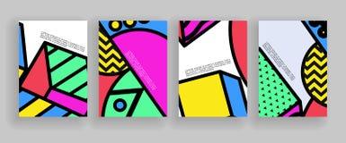 Diseño mínimo de las cubiertas Plantillas del cartel fijadas con las formas geométricas abstractas, diseño plano del estilo brill ilustración del vector