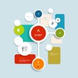 Diseño mínimo de los elementos de Infographics Círculos abstractos y plantilla infographic de los cuadrados con el lugar para su  Imagen de archivo