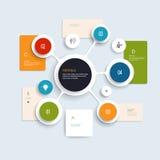 Diseño mínimo de los elementos de Infographics Círculos abstractos y plantilla infographic de los cuadrados con el lugar para su  ilustración del vector