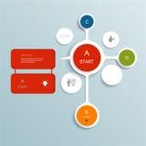 Diseño mínimo de los elementos de Infographics Círculos abstractos y plantilla infographic de los cuadrados con el lugar para su  Imágenes de archivo libres de regalías