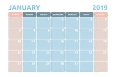 Diseño mínimo del calendario para enero de 2019 libre illustration