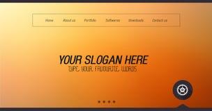 Diseño mínimo del Home Page del sitio web con el fondo del resbalador stock de ilustración
