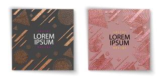 Diseño mínimo moderno y elegante Fondo brillante de cobre Textura metálica Textura de bronce del metal Modelo del cuarzo de Rose stock de ilustración
