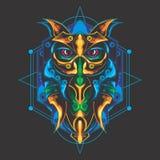 Diseño místico del búho stock de ilustración