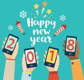 Diseño móvil de la Feliz Año Nuevo Foto de archivo