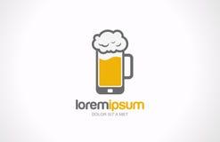 Diseño móvil del logotipo del pub del vidrio de cerveza. Creati del café de la barra libre illustration