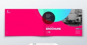Diseño magenta del folleto Plantilla de la cubierta horizontal para el folleto, informe, catálogo, revista Disposición con el cír ilustración del vector
