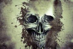 Diseño malvado del tatuaje con el cráneo Imagen de archivo libre de regalías