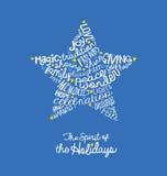 Diseño manuscrito de la nube de la palabra de la tarjeta de la estrella del día de fiesta Fotografía de archivo libre de regalías