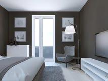 Diseño marrón acogedor del dormitorio Imágenes de archivo libres de regalías
