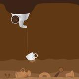 Diseño marrón blanco del café express de la taza preparatoria de la bebida del café Foto de archivo
