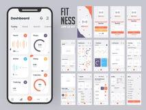 Diseño material del app de la aptitud con las pantallas planas de la web del ui incluyendo muestra adentro ilustración del vector