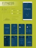 Diseño material móvil UI, UX y GUI del App de la aptitud Imagenes de archivo