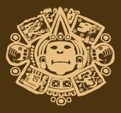 Diseño maya del oro en marrón Fotografía de archivo
