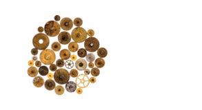 Diseño mecánico del estilo del ornamento de la maquinaria de Steampunk aislado en blanco Opinión macra texturizada de las ruedas  foto de archivo libre de regalías