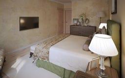 Diseño mediterráneo del dormitorio principal Imagenes de archivo