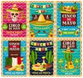Diseño mexicano de la bandera del partido de la fiesta de Cinco de Mayo stock de ilustración