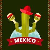 Diseño mexicano divertido del cartel del cactus Foto de archivo