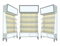 Diseño moderno blanco del estante de madera vacío Fotos de archivo
