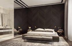 Diseño moderno de dormitorio con el cuarto de baño foto de archivo libre de regalías