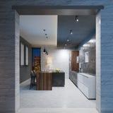 Diseño moderno de la cocina con una tabla de centro larga cabida con una encimera de mármol negra, equipo de acero inoxidable de  stock de ilustración
