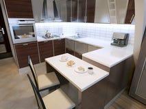 Diseño moderno de la cocina del zebrano Imágenes de archivo libres de regalías