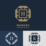 Diseño moderno de la insignia Plantilla linear geométrica del monograma Emblema H, D, K de la letra Marca de la distinción Muestr Imagenes de archivo