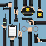 Diseño moderno de la policía plano Foto de archivo libre de regalías